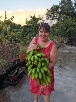 Tasha with bananas